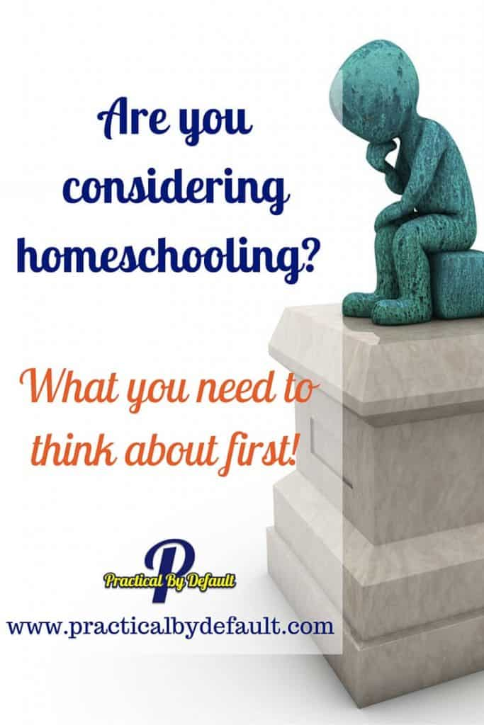 When considering homeschooling there are some questions you might want to think about first. Sharing my top 3.