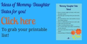 Mommy Daughter checklist of ideas